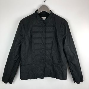 Chico's Black Metallic Button Front Lined Jacket